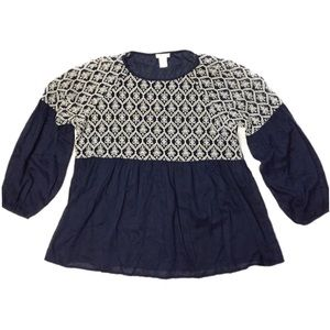 Sundance Smock Top Blouse Embroidered Blue SZ XL
